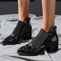 Women's Leatherette Chunky Heel Ankle Boots Pointed Toe With Elastic Band Solid Color shoes
