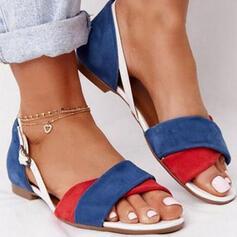 Women's PU Low Heel Sandals Peep Toe With Buckle Crisscross shoes