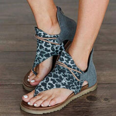 Women's PU Flat Heel Sandals Flats Peep Toe Flip-Flops With Animal Print shoes