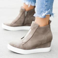 Women's Suede Wedge Heel Platform Wedges With Zipper shoes