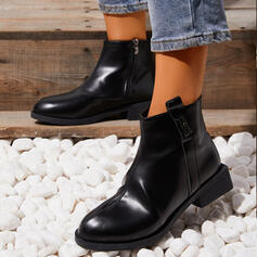 Women's Leatherette Chunky Heel Ankle Boots Pointed Toe Chelsea Boots With Zipper Solid Color shoes