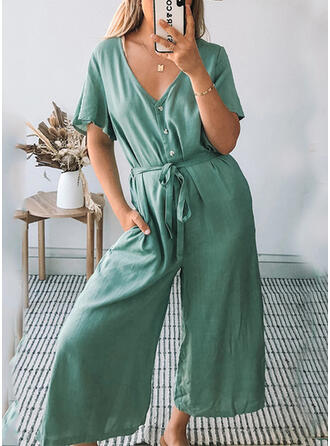Solid V-Neck 1/2 Sleeves Casual fresh Jumpsuit