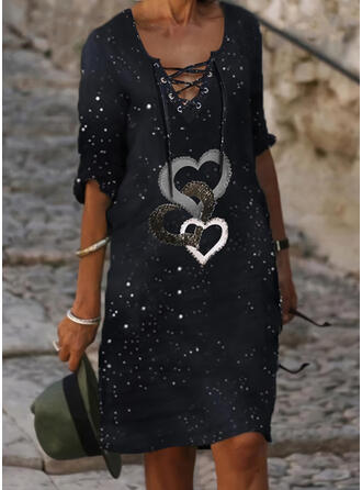 Print/Lace-up/Heart 1/2 Sleeves Shift Knee Length Casual Tunic Dresses