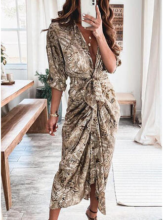Print Long Sleeves Sheath Shirt Casual Midi Dresses