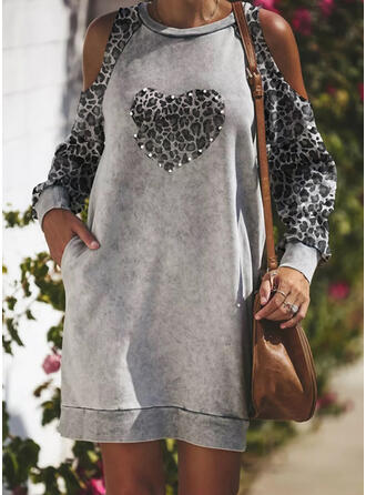 Leopard/Heart Long Sleeves Cold Shoulder Sleeve Shift Above Knee Casual/Vacation Tunic Dresses