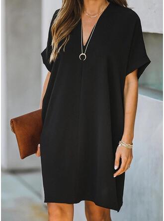 Solid Short Sleeves Shift Knee Length Little Black/Casual Dresses
