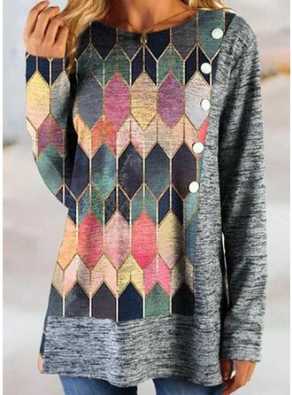 Geometric Round Neck Long Sleeves T-shirts