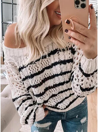 Striped Round Neck Casual Knit Tops