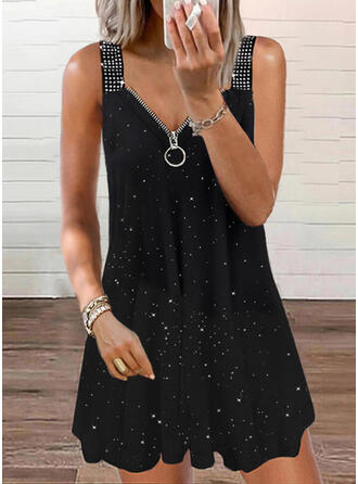 Print/Sequins Sleeveless Shift Above Knee Casual Tank Dresses