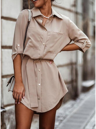 Solid 3/4 Sleeves A-line Above Knee Casual Shirt/Skater Dresses
