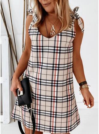 Plaid/Backless Sleeveless Shift Above Knee Elegant Dresses