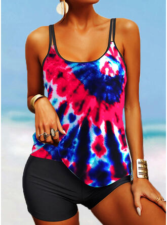 Colorful Strap U-Neck Fashionable Casual Tie-Dye Tankinis Swimsuits