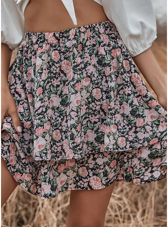 Chiffon Print Above Knee A-Line Skirts