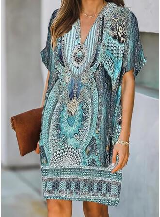 Print Short Sleeves Shift Knee Length Casual/Boho Dresses