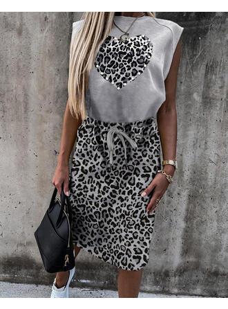 Leopard/Beaded/Heart Sleeveless Sheath Knee Length Casual Dresses