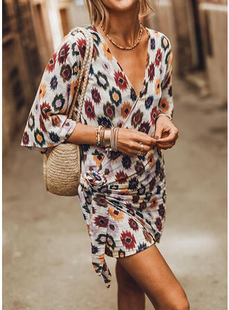 Print 1/2 Sleeves Bodycon Mini Vacation Dresses