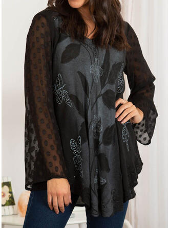 Butterfly V-Neck Long Sleeves Casual Blouses