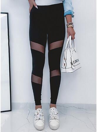 Color Block Long Sexy Sporty Plus Size Leggings