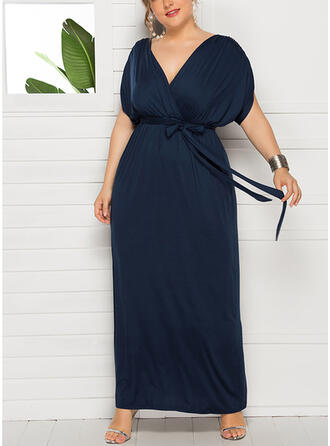 Plus Size Solid Short Sleeves Sheath Maxi Casual Little Black Vacation Dress