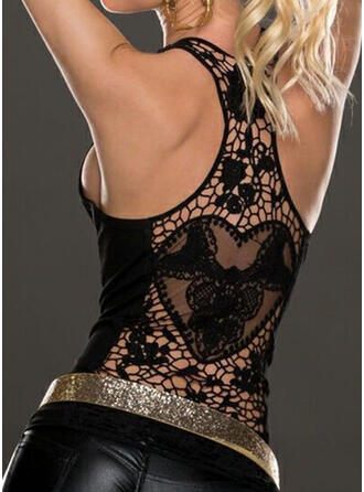 Backless Heart Lace Solid Round Neck Sleeveless Tank Tops