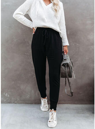 Solid Cotton Long Casual Lounge Pants