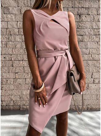 Solid Sleeveless Sheath Asymmetrical Elegant Dresses