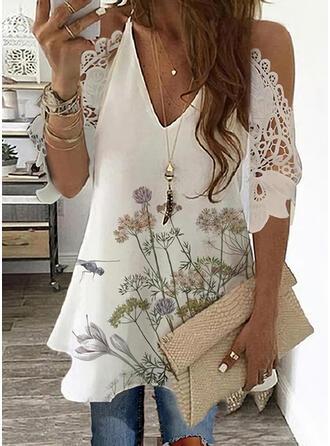 Floral Animal Print Lace Cold Shoulder 3/4 Sleeves Elegant Blouses