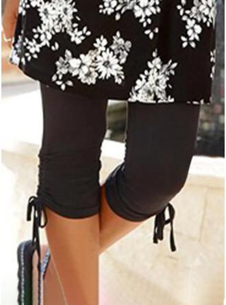 Solid Capris Sporty Plus Size Drawstring Pants Leggings