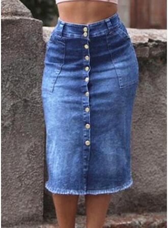 Denim Plain Maxi Pencil Skirts