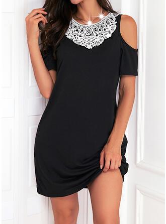 Print Lace Short Sleeves Cold Shoulder Sleeve A-line Knee Length Casual Skater Dresses