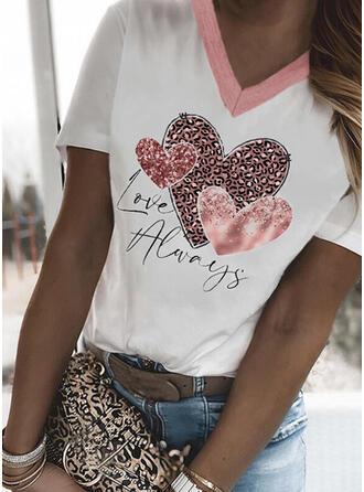 Leopard Heart Print Letter V-Neck Short Sleeves T-shirts