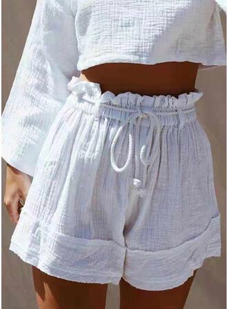 Solid Drawstring Boho Casual Shorts