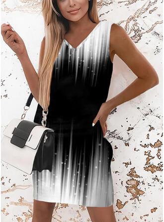 Print/Gradient Sleeveless Shift Above Knee Elegant Dresses