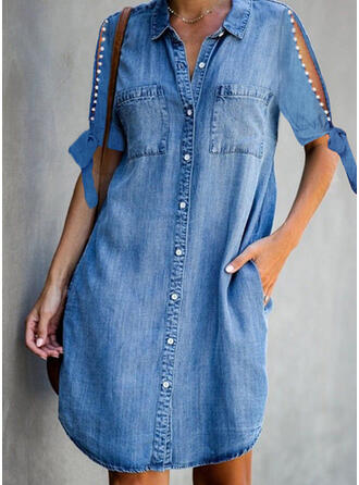 Solid/Beaded 1/2 Sleeves/Split Sleeve Shift Knee Length Casual/Denim Shirt Dresses