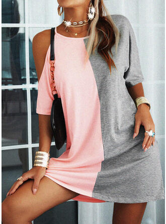 Color Block 1/2 Sleeves Shift Above Knee Casual Tunic Dresses
