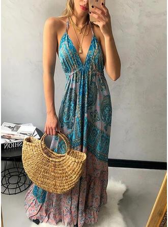 Print/Floral Sleeveless A-line Slip/Skater Casual/Boho/Vacation Maxi Dresses