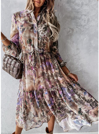 Floral Long Sleeves A-line Vacation Maxi Dresses