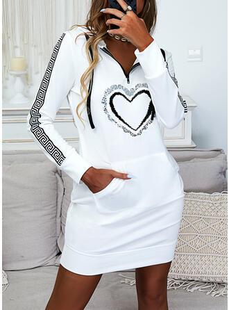 Print/Heart Long Sleeves Sheath Above Knee Casual Sweatshirt Dresses