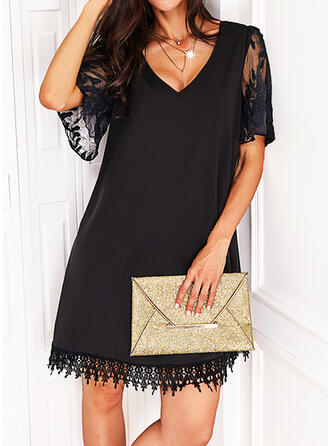 Solid Lace 1/2 Sleeves Shift Above Knee Little Black/Casual Dresses