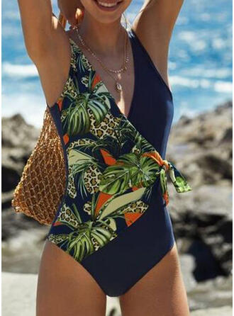 Floral Tropical Print Knotted Strap Sexy One-piece Swimsuits