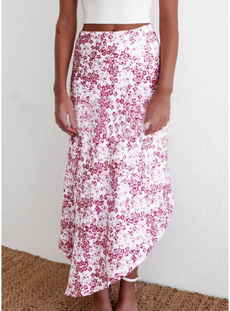 Polyester Print Mid-Calf A-Line Skirts Asymmetrical