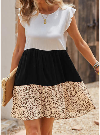 Color Block/Leopard Short Sleeves Small Flying Sleeve A-line Above Knee Casual Skater Dresses
