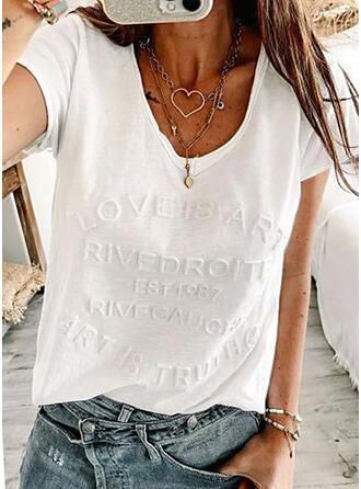 Solid Letter V-Neck Short Sleeves T-shirts