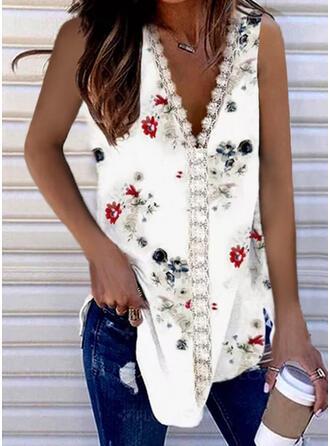 Floral Lace Print V-Neck Sleeveless Tank Tops