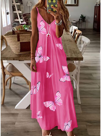 Animal Print Sleeveless A-line Slip/Skater Casual/Vacation Maxi Dresses