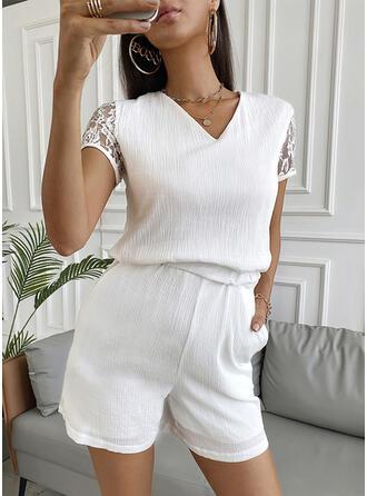Solid Lace V-Neck Short Sleeves Elegant Romper