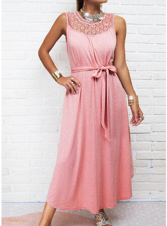 Lace/Solid/Hollow-out Sleeveless A-line Skater Casual Maxi Dresses