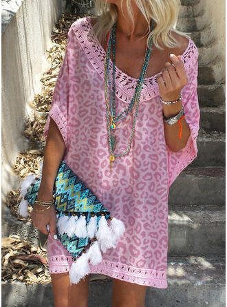 Lace/Leopard 1/2 Sleeves Shift Above Knee Vacation Tunic Dresses