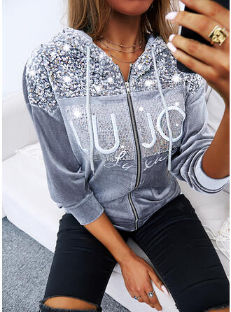 Print Letter Sequins Hooded Long Sleeves