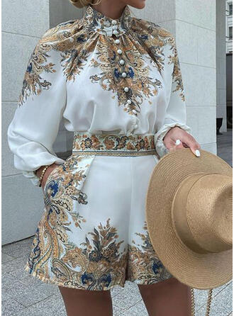 Print Casual Blouse & Two-Piece Outfits Set